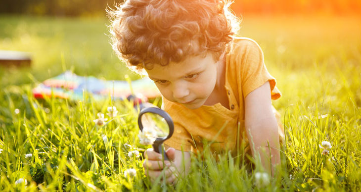 Young boy looking at flower through magnifier
