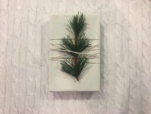 evergreen sprig tied to package