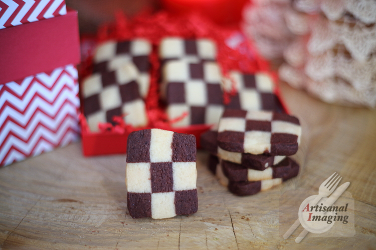 Stack of chessboard cookies