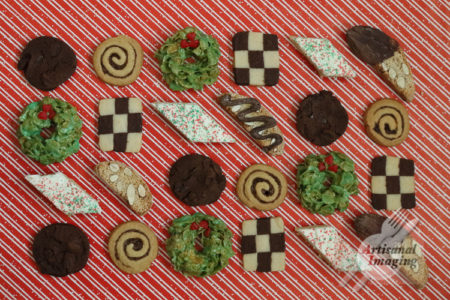 Rows of assorted cookies