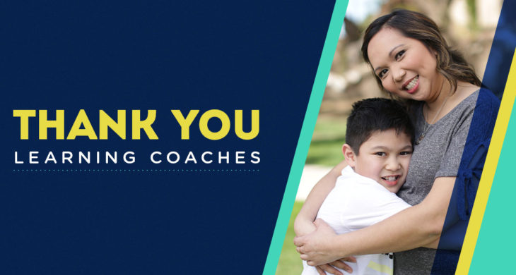 """Thank You Learning Coaches"" mom hugging child"