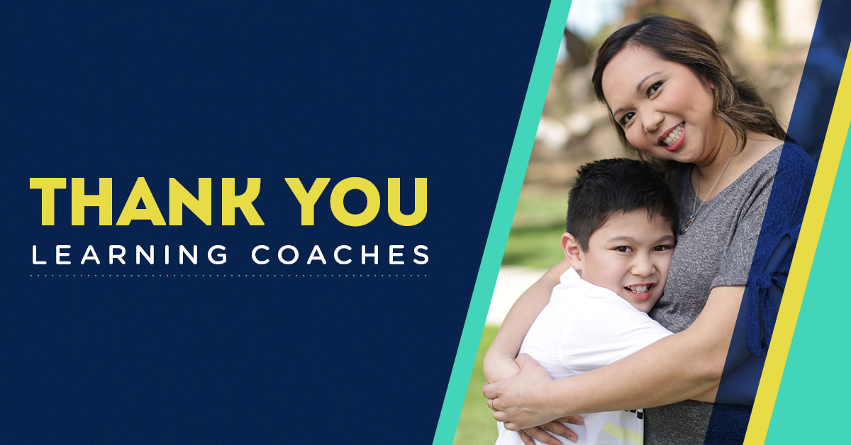 """""""Thank You Learning Coaches"""" mom hugging child"""