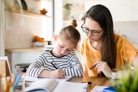 mom and child homeschool